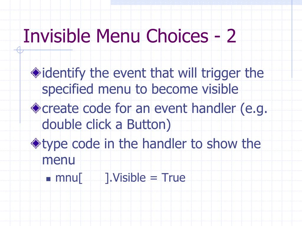 Invisible Menu Choices - 2