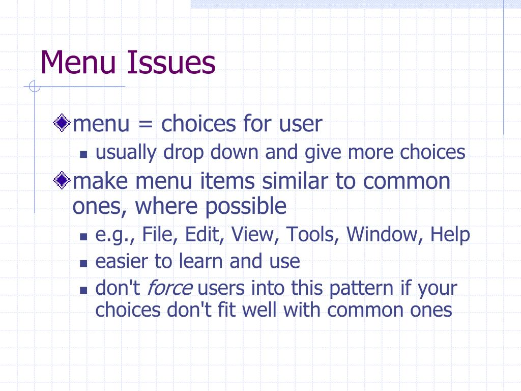 Menu Issues