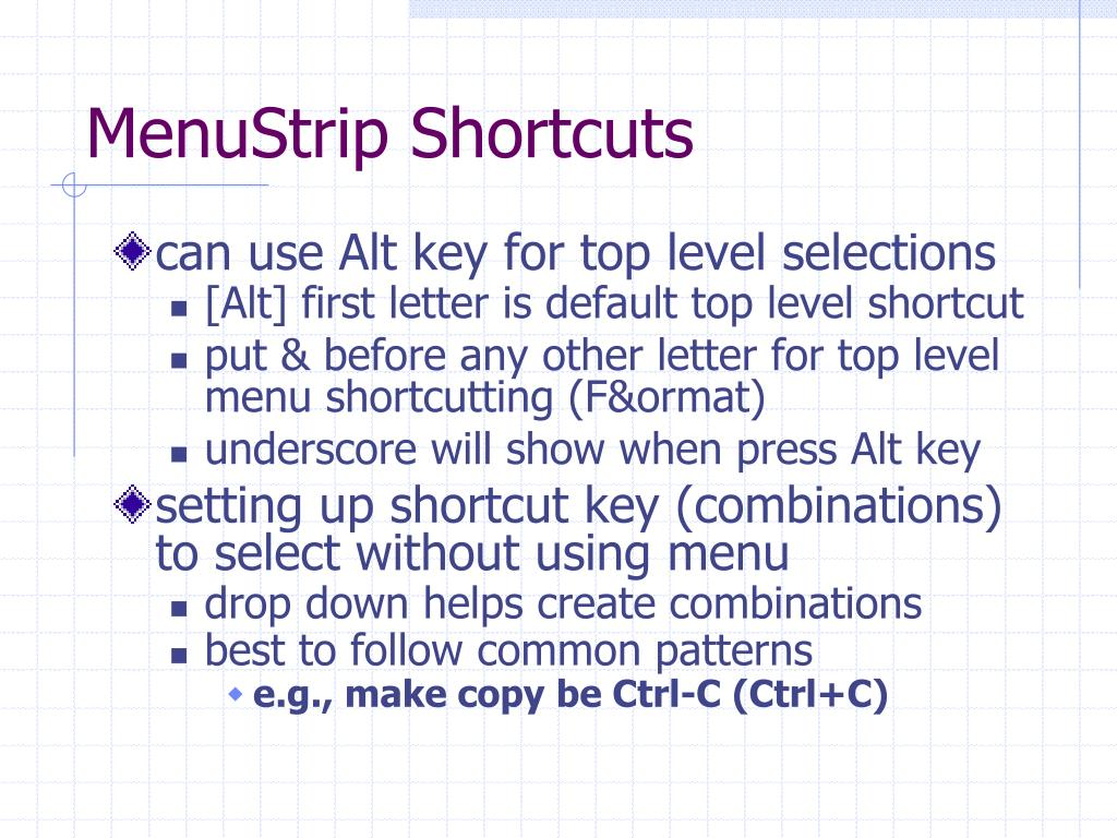 MenuStrip Shortcuts