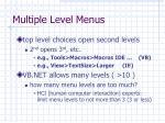 multiple level menus