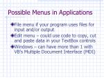 possible menus in applications