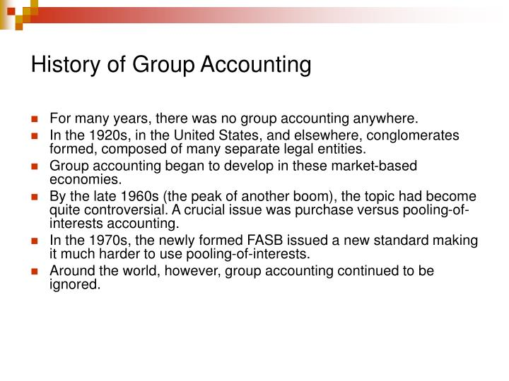 History of Group Accounting