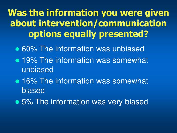 Was the information you were given about intervention/communication options equally presented?