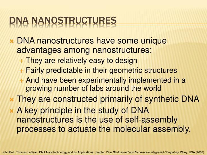 DNA nanostructures have some unique advantages among nanostructures: