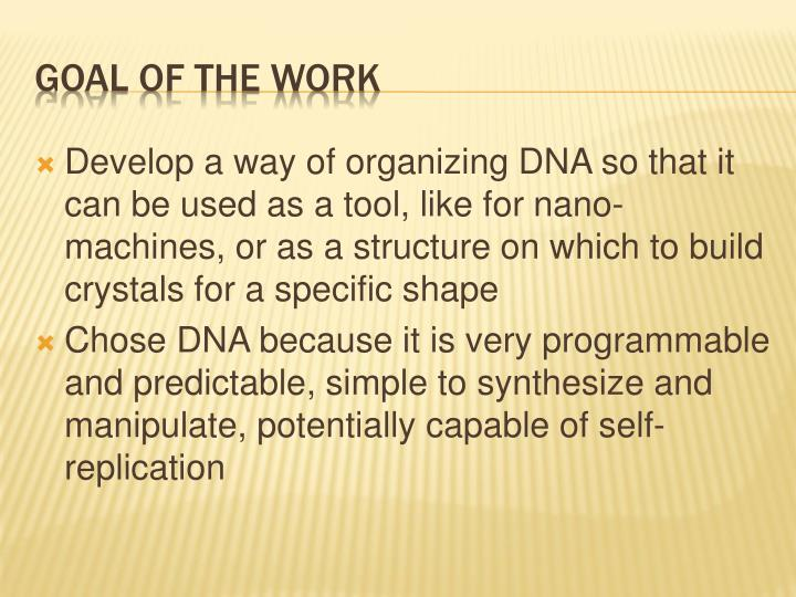 Develop a way of organizing DNA so that it can be used as a tool, like for