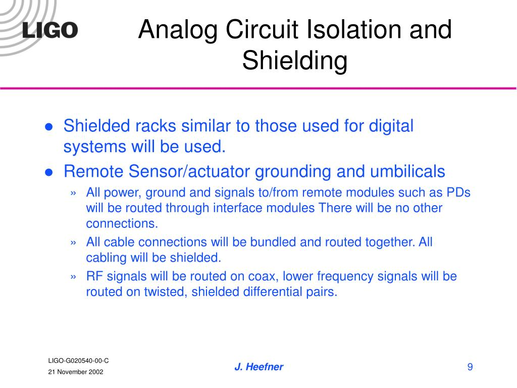 Analog Circuit Isolation and Shielding