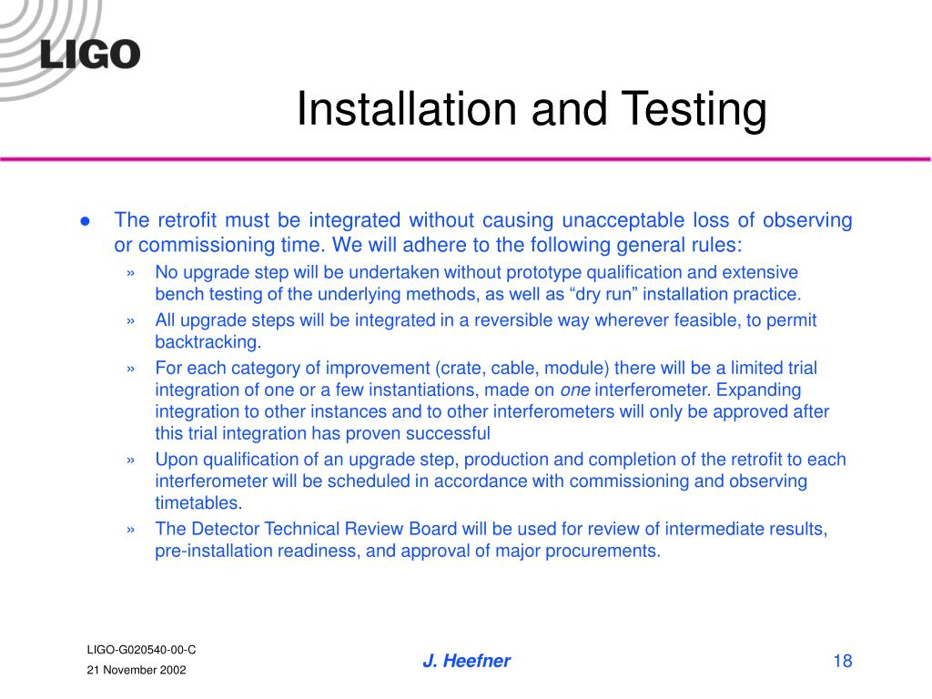 Installation and Testing