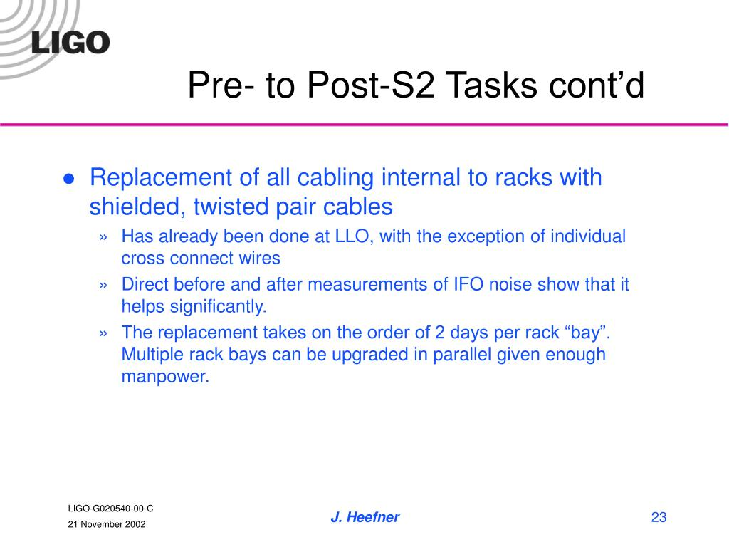 Pre- to Post-S2 Tasks cont'd