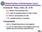 determination of performance cont