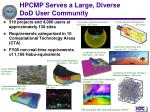 hpcmp serves a large diverse dod user community