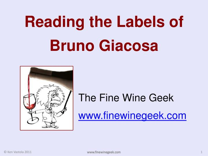 reading the labels of bruno giacosa n.