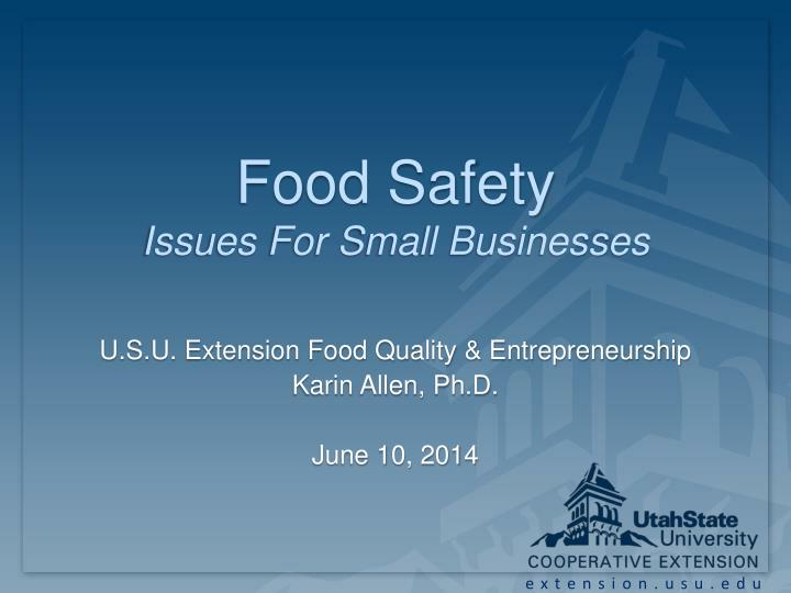 food safety issues for small businesses n.