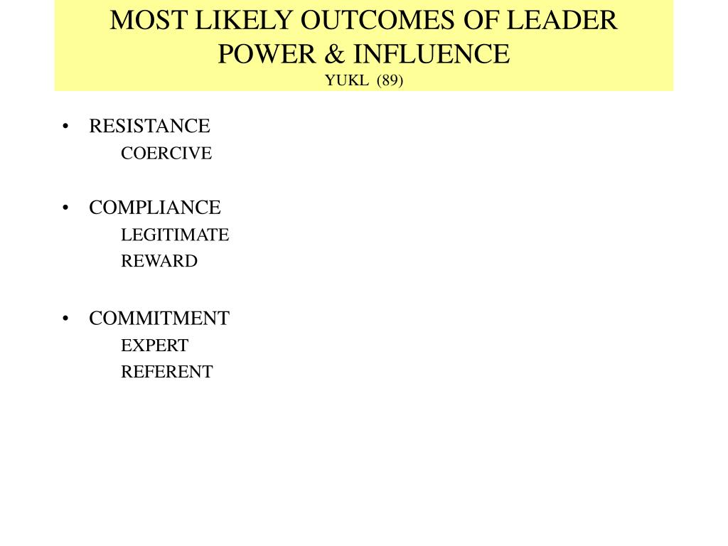 MOST LIKELY OUTCOMES OF LEADER POWER & INFLUENCE