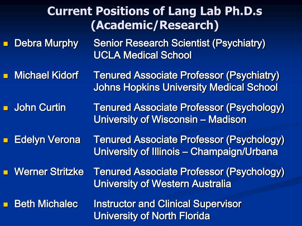 Current Positions of Lang Lab Ph.D.s