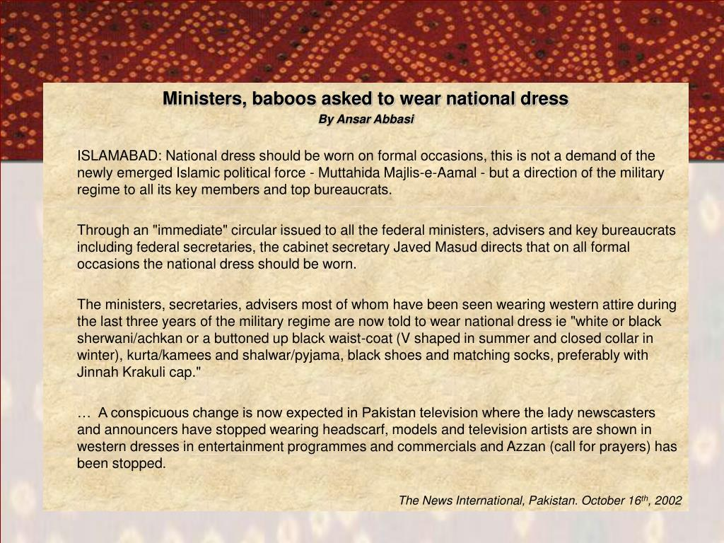 Ministers, baboos asked to wear national dress