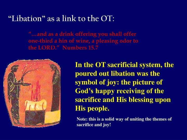 """""""Libation"""" as a link to the OT:"""