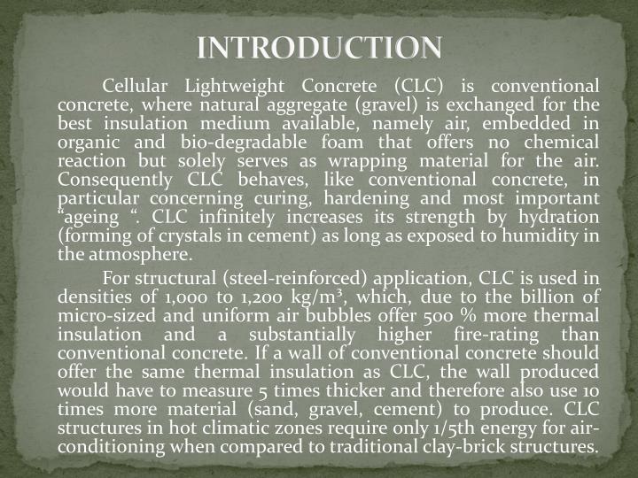 Interra Cellular Lightweight Concrete : Ppt cellular lightweight concrete clc powerpoint
