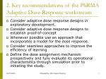 2 key recommendations of the phrma adaptive dose response workstream