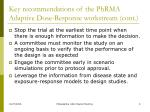 key recommendations of the phrma adaptive dose response workstream cont