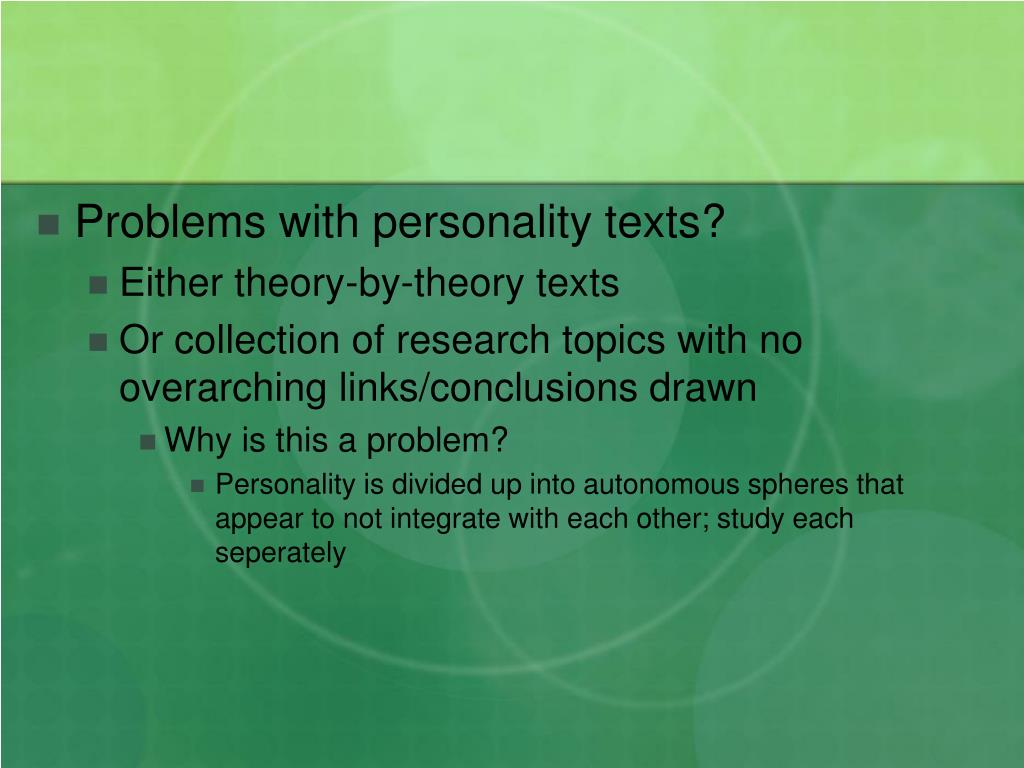Problems with personality texts?