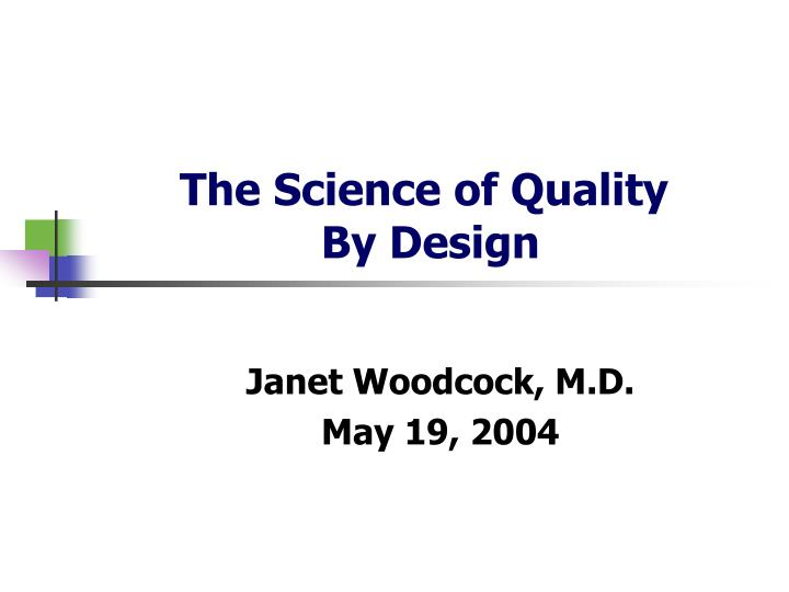 the science of quality by design n.