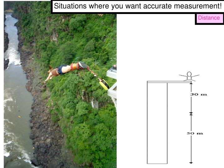 Situations where you want accurate measurement!