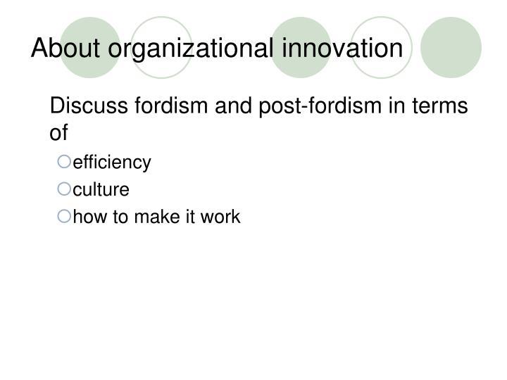 About organizational innovation