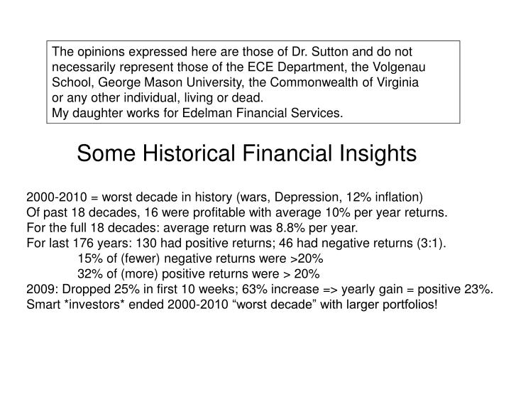 some historical financial insights n.
