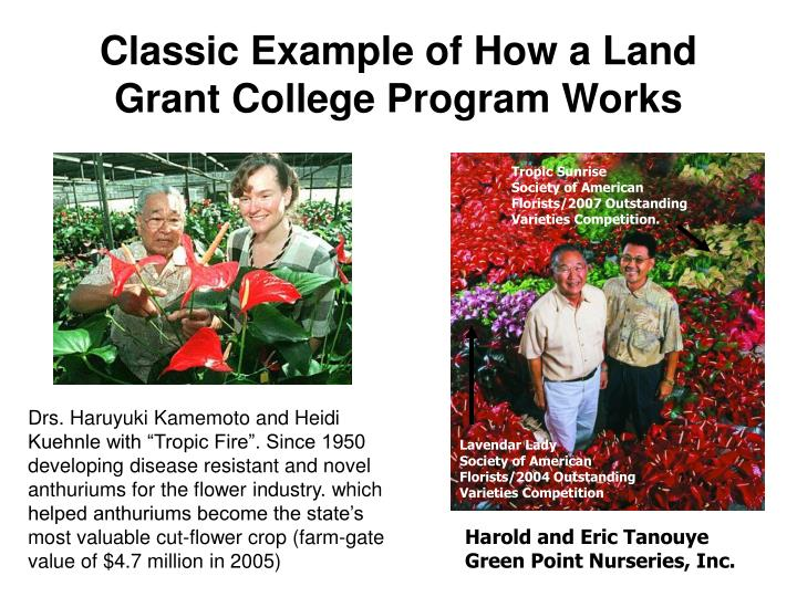Classic Example of How a Land Grant College Program Works