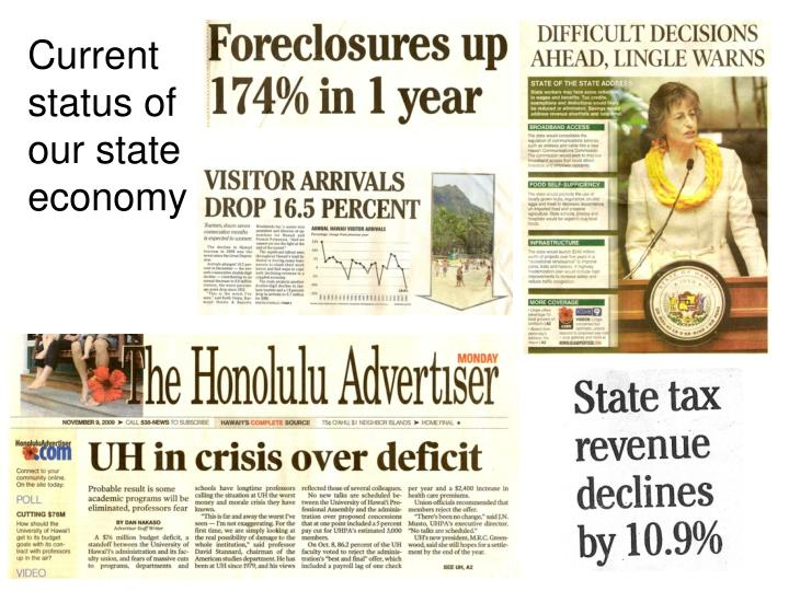 Current status of our state economy