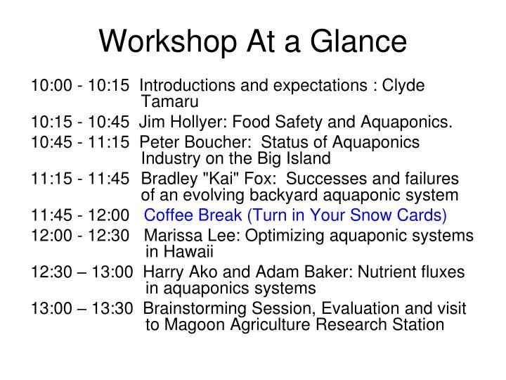 Workshop At a Glance