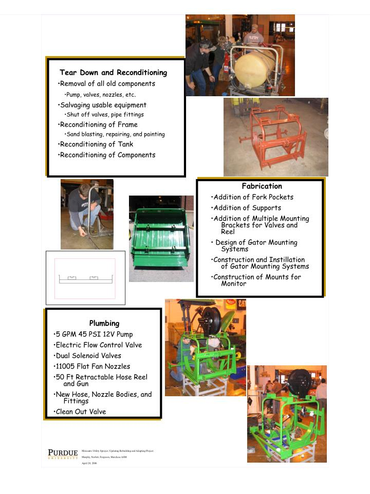 Monsanto Utility Sprayer; Updating Rebuilding and Adapting Project.