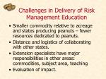 challenges in delivery of risk management education