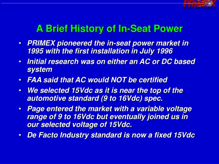 A brief history of in seat power