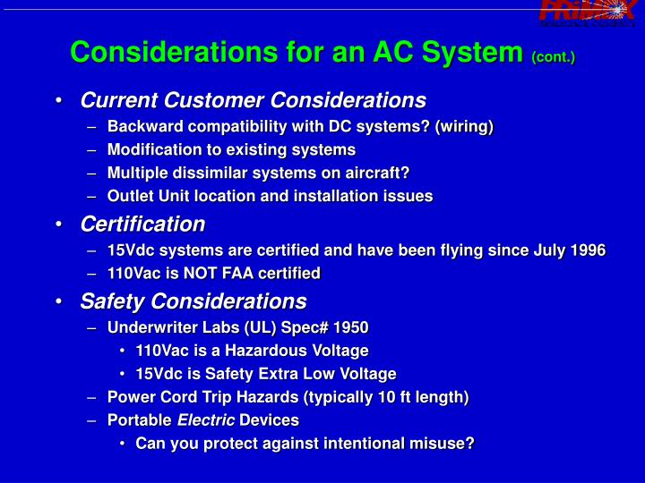 Considerations for an AC System