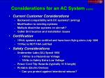 considerations for an ac system cont