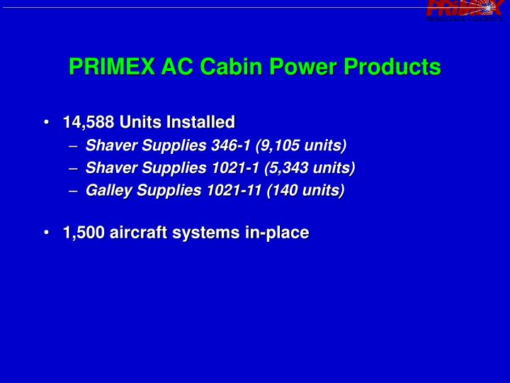 PRIMEX AC Cabin Power Products