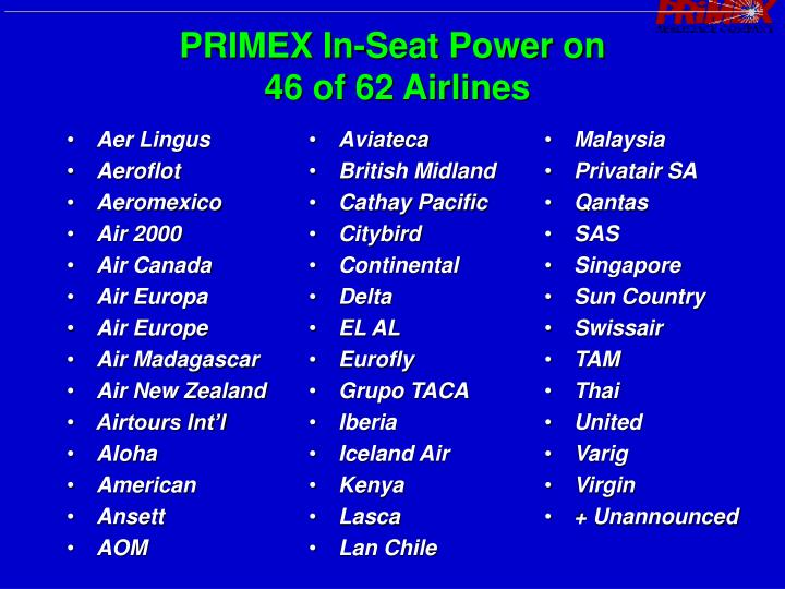 PRIMEX In-Seat Power on