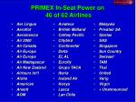 primex in seat power on 46 of 62 airlines