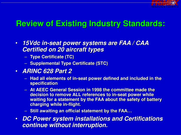 Review of Existing Industry Standards: