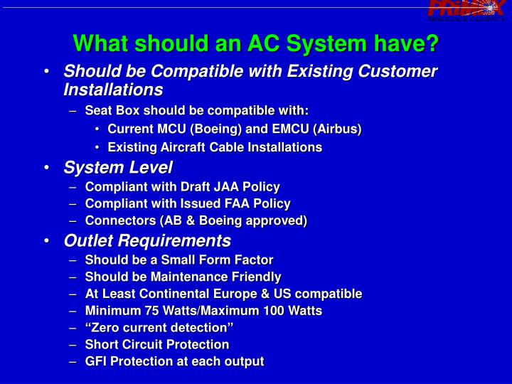 What should an AC System have?