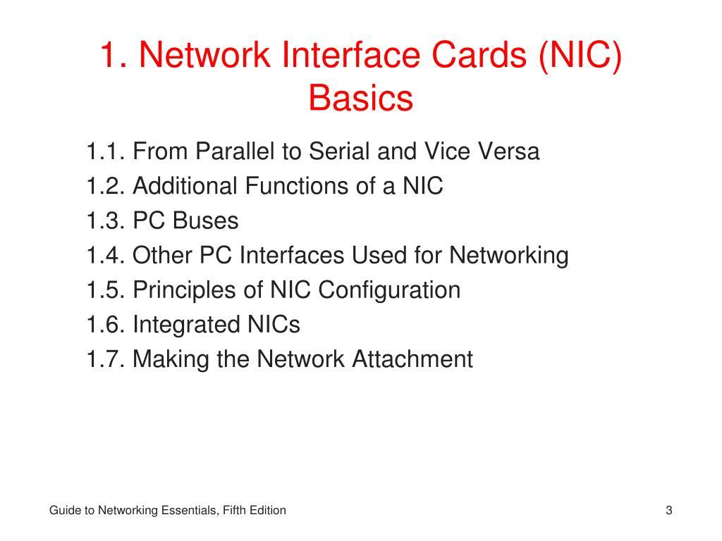 1. Network Interface Cards (NIC) Basics