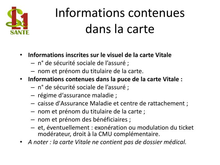 Informations contenues