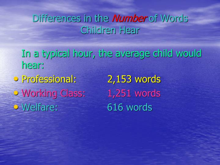 Differences in the number of words children hear