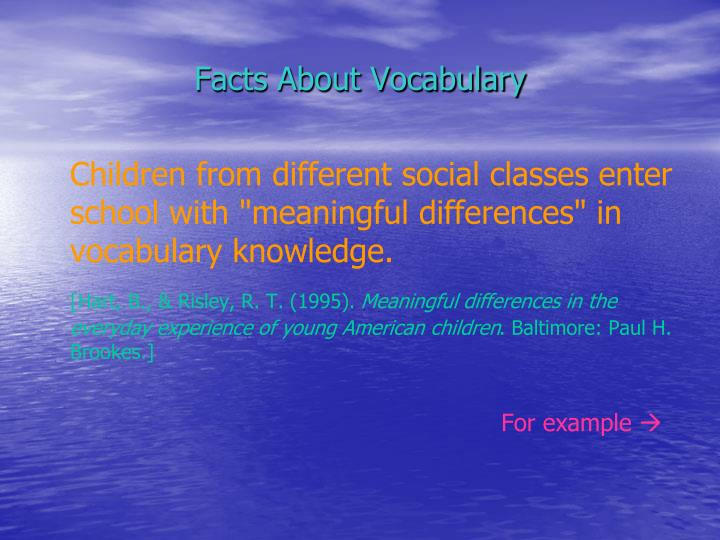 Facts about vocabulary