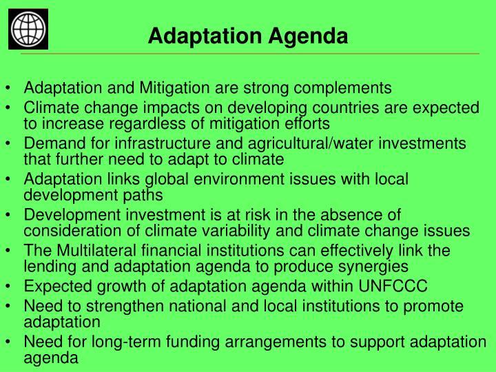 Adaptation agenda