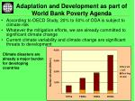adaptation and development as part of world bank poverty agenda