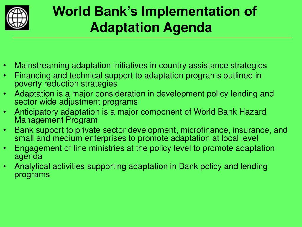 World Bank's Implementation of Adaptation Agenda