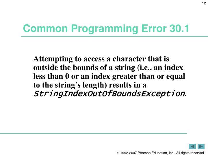 Common Programming Error 30.1