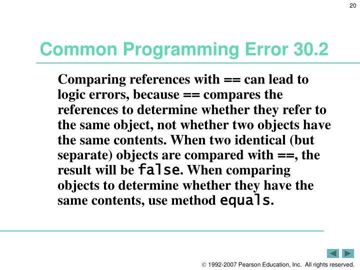Common Programming Error 30.2